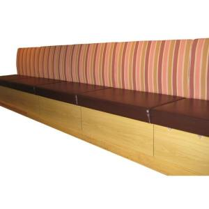 Long Booth Seat with Removable Cushioned Seats  (Storage optional)