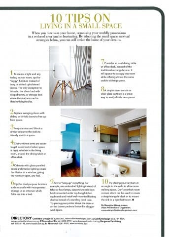 Home & Decor Feb 2012 Issue - 10 Tips on Living in a Small Space