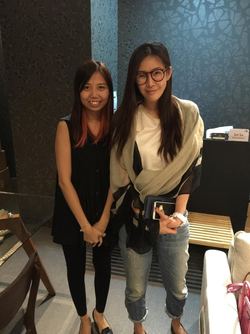 The beautiful Mediacorp singer/actress, Jesseca Liu, dropped over for a visit at our showroom.